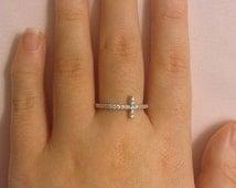 Cross Ring | Sterling Silver Cross Ring | Sterling Silver Sideways Cross Ring | Christian Rings | Silver Rings for Women