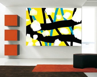 Big Abstract Art Extra large art Abstract Painting Rolled Canvas HandPainted Wall Art yellow blue black white Painting Big Gift USA Painting