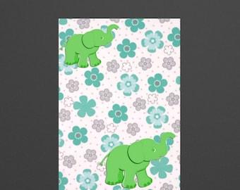 green elephant,kids room wall art, jungle safari ,floral,green and gray,girls wall art,baby shower gift ,kids wall art print