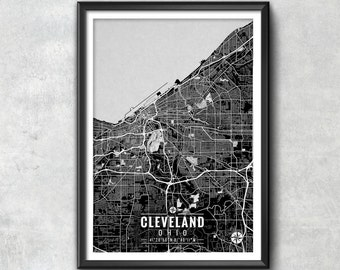 CLEVELAND Ohio Map with Coordinates, Cleveland Map, Map Art, Map Print, Cleveland Print, Cleveland Art, Cleveland Wall Art, Map, Wall Art