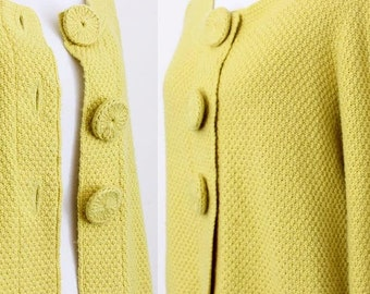 Vintage 1990s Boden Yellow Cardigan / Button Up / Cotton Blend / Sweater / Knit Wear / 90s Clothing