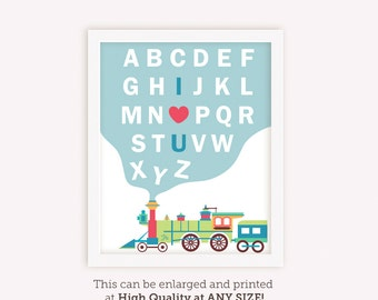 Alphabet Letter Train Print / Alphabet wall art / ABC Train / I Love You Nursery Print