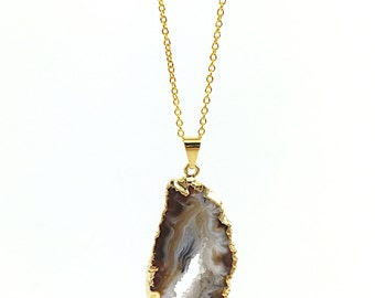Geode Necklace, Raw Stone Necklace, Druzy, Gold White, Brown, Geode Slice, Boho, Agate Slice Necklace  (Geode Slice Pendant)