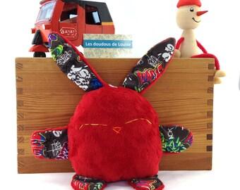 Rabbit stuffed animal / Pilou le lapinou / red minky and graffiti fabrics