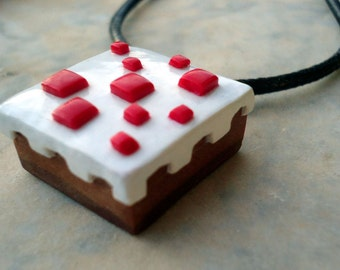 Minecraft cake inspired necklace