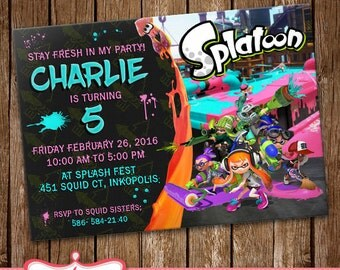 Splatoon Invitation Card Party Invitation Splatoon Birthday Card LL-0156