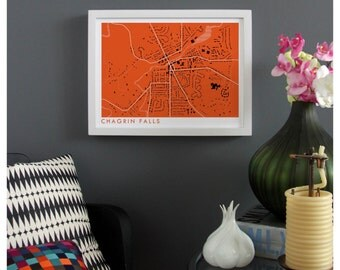 CHAGRIN FALLS OHIO Map Print - graphic drawing art poster