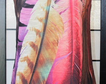 Feather Tank Top. Bright Beautiful Colored Feather Shirt. Soft and Light Fabric. Stunning Feather Design Tank Top. Lovely Feather Tank Top.