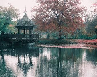 Autumn pond photography, gazebo art, hazy reflection, fall photography, hazy photograph, nature print, lakeside, Kentucky, Memories
