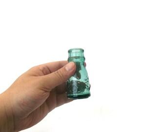 Tiny bottle, small Vintage glass bottle, little Glass vase made of blue glass, Blue vase made of glass, big-bellied bottle, decorative glass