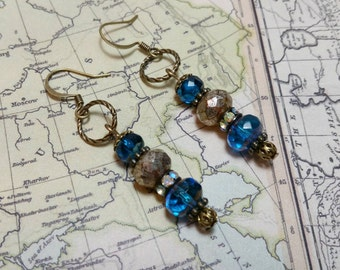 SALE, Blue Drop Earrings, Blue Boho Earrings, Dangle Earrings, Rustic, Bohemian, Gypsy, Hippie Beaded Earrings, Fire Polished Glass Beads