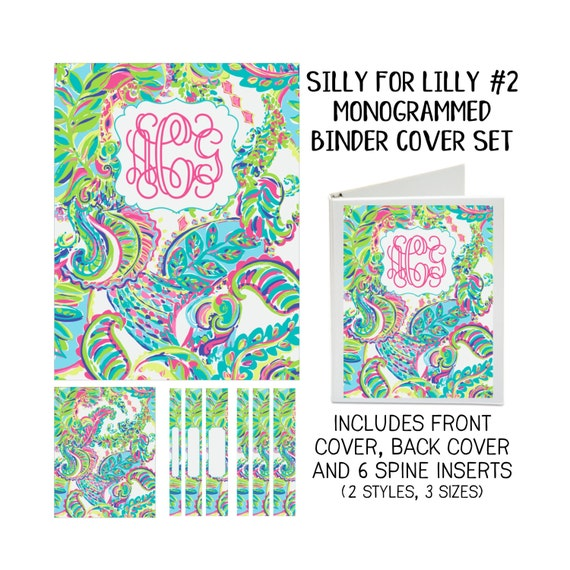 Silly for Lilly #2 Printable Binder Cover Set with Front & Back Covers and Spine inserts - Personalized- Dress up Your Three Ring Binder!