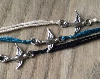 Bird Wish Bracelet, Bird Charm Bracelet, Wish Charm, Simple Bracelet, Swallow Charm, Friendship Jewelry, Animal Charm, Flying Bird