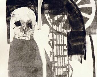 Whimsical art, original art, monotype, black & white art, memento mori, one of a kind art, whimsical print, skull art, crow art, print