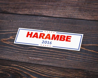 """Harambe 2016 - Pack Of 3 - 4"""" Long - Personalized Sticker - Die Cut"""
