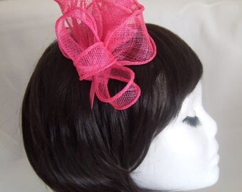 Pink coiled and looped Bow & Rose sinamay fascinator with feathers on a narrow matching satin fabric alice band. Wedding Hat, Races Hat