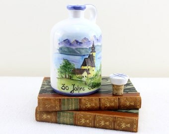 Vintage jug bottle with lid Hand painting porcelain Gorgeous pattern Made in Austria from Maria G handmade very rare!