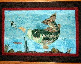 Largemouth Bass Fish Wall Quilt