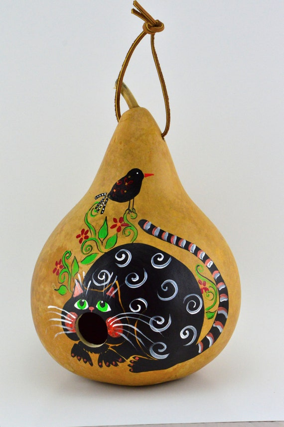 Gourd Birdhouse -  Cat Birdhouse - Painted Gourd - Bird lovers gift - Garden Art -  Wren House - Natural Decor - Black Cat -