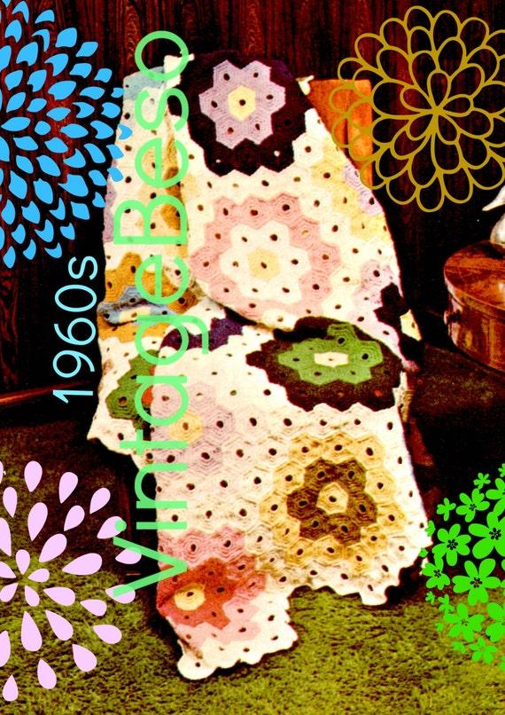 Afghan Crochet PATTERN 1970s Flower Patchwork Quilt Patchwork