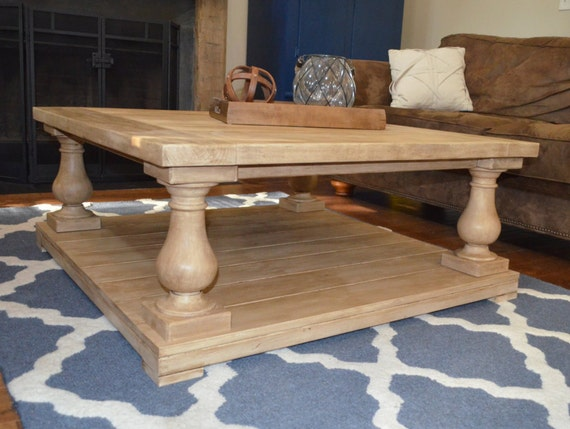 Square Balustrade Leg Coffee Table With Custom Finish In