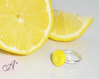 Lemon ring fimo, ring lemon slice, Adjustable ring, fanciful, ring fruit, yellow, summer ring, lemonade, yellow jewel