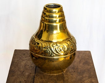 Large Danish Skønvirke Vase, Art Nouveau Brass, Signed Holger Fischer
