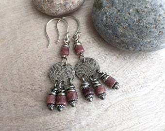Burgundy Jade  Sterling Silever  earrings Boho earrings  Rustic earrings  Jade earrings Dangle earrings