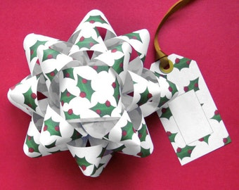 Christmas Holly Gift Bows & Tags - DIY, Instant Download, Gift Wrap, Digital Print, Cut Out Craft, Craft Kit