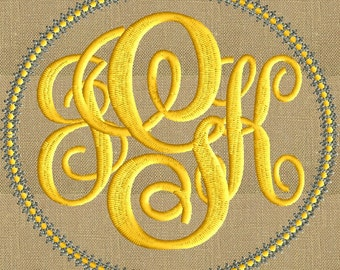 Eyelet Circle Frame Monogram -Font not included Perfect for 4x4 frames EMBROIDERY DESIGN Instant download 2 colors Vp3 Hus Dst Exp Jef Pes