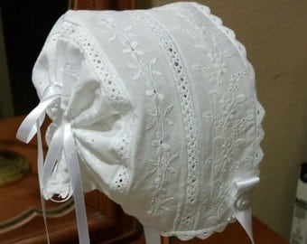 Victorian White Baby Bonnet