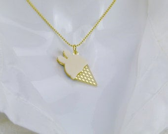 Ice-cream Bunny Necklace (Cream)