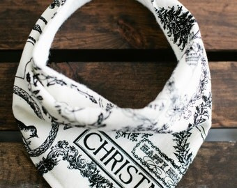 Christmas Modern Baby Bandana Bib - Baby Drool Bib / Vintage Christmas with Organic Backing