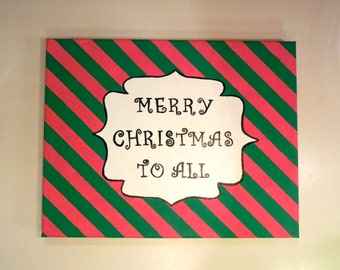Handpainted Christmas Canvas Wall Art, Painted Christmas Wall Decor, Red and Green Christmas Decoration, Striped Painted Canvas