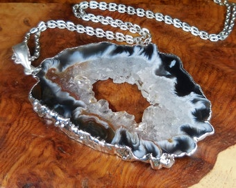 Large Geode Necklace - Druzy Crystal Slice Pendant - Silver Plated Gemstone Jewelry (T19B) Natural Stone Cut Geodes Raw Crystals Gemstones