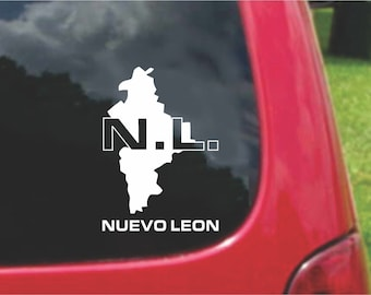 2 Pieces Nuevo Leon Mexico Outline Map  Stickers Decals 20 Colors To Choose From.  U.S.A Free Shipping