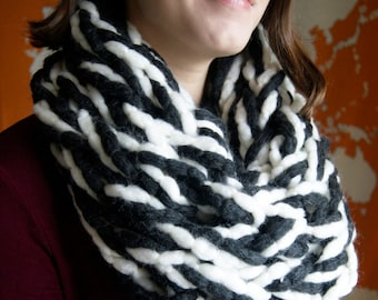 Salt & Pepper Chunky Knit Infinity Scarf