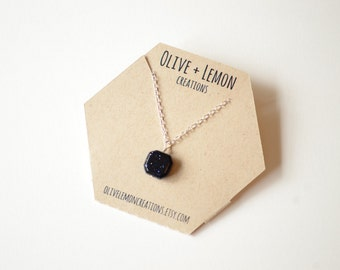 Blue Goldstone Necklace - Silver Gemstone Necklace - Sparkling Gemstone Necklace - Sterling Silver Necklace - Goldstone Necklace - Dainty