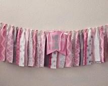ONEderland Birthday Banner - Highchair Banner - Highchair Garland - Rag Tie Garland - Scrappy Fabric Banner - Cake Smash - Winter Onederland