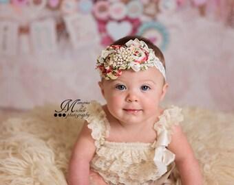 Rosette lace headband, Floral Headband, Baby Girl Headband, Toddler Headband, Girl Headband, Infant Headband, Lace headband, White  headband