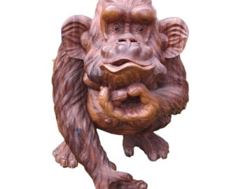 Solid Wooden Ape Sculpture, Hand Carved