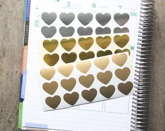 45 metallic heart stickers, silver gold geometric stickers, planner stickers, scrapbook sticker, love reminder checklist sticker