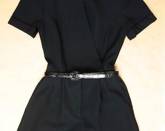 1980s Classy Black Romper Playsuit // Dressy Vintage Jumper Suit