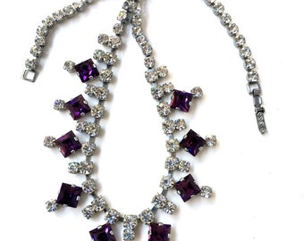 Diamante Statement Necklace, 1950s Glass Necklace, Amethyst Rhinestone Necklace, Hollywood Regency, Crystal Party Necklace, UK Sellers Only