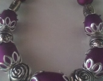 Silver roses with royal purple beaded necklace