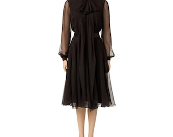Vintage Brown Chiffon Dress with Bow Tie