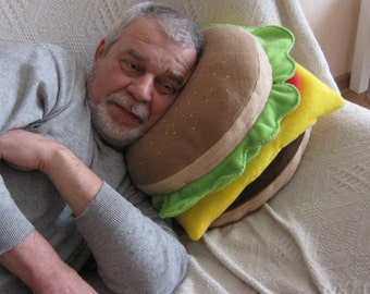 Hamburger Pillow - HandMade Food Pillow - Burger Cushion 40 cm