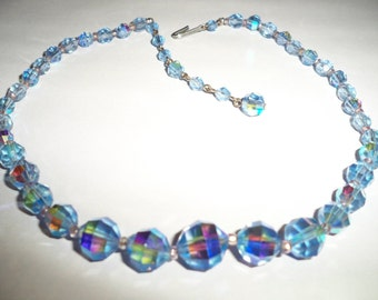 Blue, Crystal necklace, something blue for the bride, mid century AB crystal necklace, 1950's Crystal necklace, Blue beaded necklace, glass