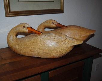 Wood Geese, Hand Carved, Vintage, Large, Sleeping Geese, Painted Wood, Decoys, Goose Figures