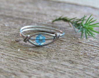March Birthstone Ring ~ aqua marine ring ~ light blue ring ~ sky blue ring ~ wire ring ~ stainless steel ring ~ birthstone ring ~ crystal